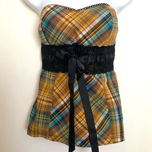 Women's or Juniors plaid and lace tube top
